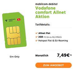 ➤ Mobilcom Debitel Comfort Allnet für rechnerisch 7,49€ ✓ 2 GB Internet Flat ✓ Telefon Flat ✓ Hotspot Flat ✓ EU-Roaming ✓ Vodafone Netz