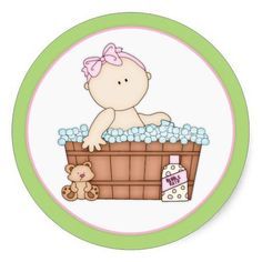 Baby Girl Taking a Bath Round Stickers d2: