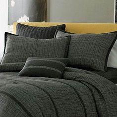 JCPenney Studio LATTITUDE 7 Piece Comforter Set KING BLACK & GRAY WAVY STRIPES #Studio #Contemporary