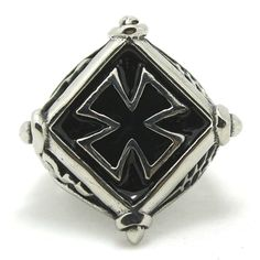 Iron Cross Biker Ring with snakes and spiderweb in 316L steel