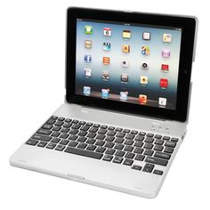"""The iPad Keyboard And Power Case - Hammacher Schlemmer - This is the case that enhances an iPad's utility with a wireless keyboard and a battery pack that extends the duration of unplugged performance. The keyboard connects wirelessly via Bluetooth, and is built with responsive """"island-style"""" keys that supply the crisp spring-back essential to touch typing."""