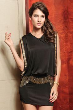 Wholesale Fashion Style V-Neck Sequins Emabellished Beam Waist Over Hip Sleeveless Dress For Women (BLACK,ONE SIZE), Casual Dresses - Rosewholesale.com