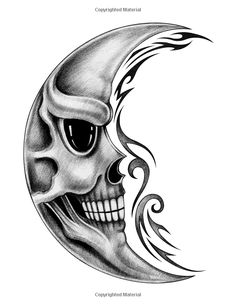 Picture of Skull moon tattoo.Art design skull moon smiley face for tattoo hand pencil drawing on paper. stock photo, images and stock photography. Tattoo Design Drawings, Skull Tattoo Design, Cool Art Drawings, Skull Tattoos, Hand Tattoos, Art Sketches, Biker Tattoos, Pencil Drawings Of Animals, Cartoon Drawings