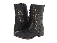 Combat boots with a girly touch.  Black and gold.  Love.