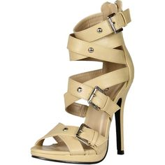 Machi Womens Cosmo-2 Buckle Cris Cross Zipper Strappy Sandal Stiletto... (€39) ❤ liked on Polyvore featuring shoes, sandals, strappy high heel sandals, strap sandals, high heel wedge sandals, strappy sandals and wide wedge sandals