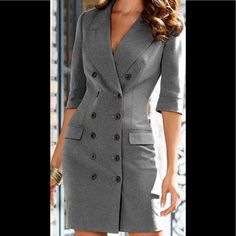 New Venus Grey Coat Dress Size 10