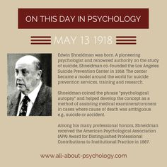 13th May 1918. Edwin Shneidman was born. A pioneering psychologist and renowned authority on the study of suicide #EdwinShneidman #Suicidology #PsychologicalAutopsy