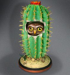 """""""Cactus Owl"""", paper mache"""