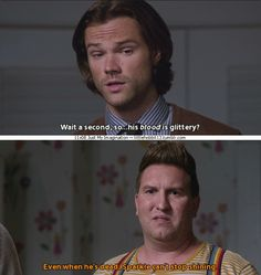 "11x08 Just My Imagination [gifset] - ""Even when he's dead, Sparkle can't stop shining."" - Sam and Sully; Supernatural"