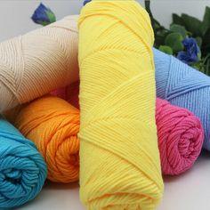 1 unid leche suave de algodón hilados de lana tejido a mano hilo diy tejer bufandas del hilado de hilo de bebé de punto de ganchillo ropa xhh8145