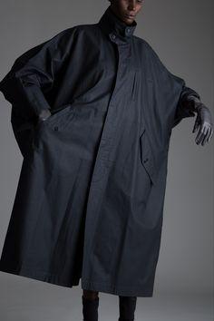 Vintage Issey Miyake Coated Windcoat. Designer Clothing Dark Minimal Street Style Fashion