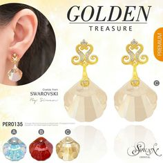 """""""Golden Treasure"""" #Swarovski #Crystal #elements #Shell design #golden  #treasure /size  16 mm.#cz Dimond /cover with gold 14K ($63) A: Aurora Boreale  B: Red Magma  C: Golden Shadow"""