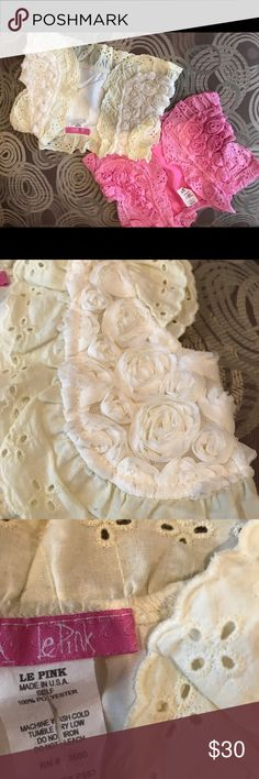 2 Le Pink boleros 2 super cute little boleros ok great condition!! Button closure. Adorable over a little dress!! Jackets & Coats Vests