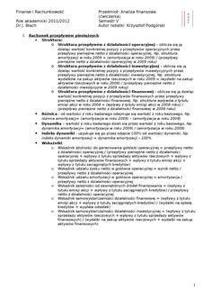 Wstępna analiza rachunku przepływów pieniężnych- opracowanie - strona 1
