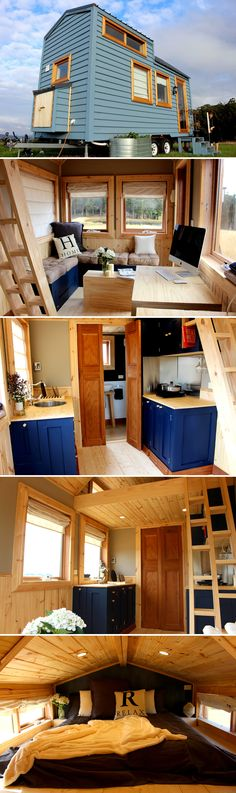 Colonial Blue by Wagonhaus - Tiny Living The Colonial Blue tiny house is available as a nightly rental located on a small family-run organic farm located in Forth, Tasmania. Small Tiny House, Modern Tiny House, Tiny House Living, Tiny House Plans, Tiny House On Wheels, Tiny House Design, Bungalows, Tyni House, Design Exterior