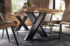 If you have always been looking for a new way to design your office, an industrial-style table design with friendly furniture has something for you. These days, everyone is looking for a new style … Industrial Table, Rustic Table, Wooden Tables, Industrial Furniture, Iron Furniture, Steel Furniture, Furniture Design, Dinning Room Tables, Metal Table Legs