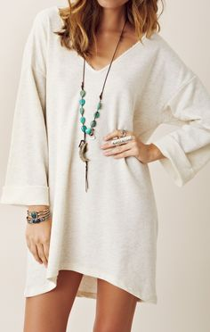 Blue Life V Neck Long Sleeve Dress. Cute with a pair of brightly colored shoes!