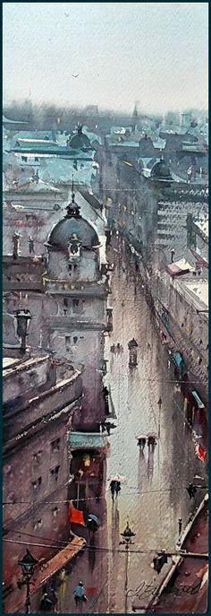 Dusan Djukaric   View on the Knez Mihailova street, 19x56 cm
