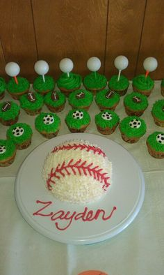 Sports theme cake and cupcakes