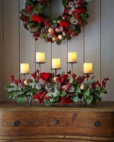 Christmas Centerpiece with Greenery, Pinecones, Berries, Nice Small Jingle Bells and Red Ribbons.