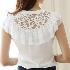shirt textile on sale at reasonable prices, buy 2016 Fashion Summer Women Blouse Elegant Butterfly Sleeve Crochet Lace Chiffon Shirt Women Tops Office Shirt Plus Size Blusas from mobile site on Aliexpress Now!Latest sleeve designs to try with designe Chiffon Shirt, Ruffle Blouse, Lace Chiffon, Chiffon Blouses, Women's Blouses, Blouse Patterns, Blouse Designs, Sleeve Designs, Sammy Dress