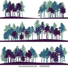 set of different silhouettes of landscape with pine trees, vector illustration - stock vector