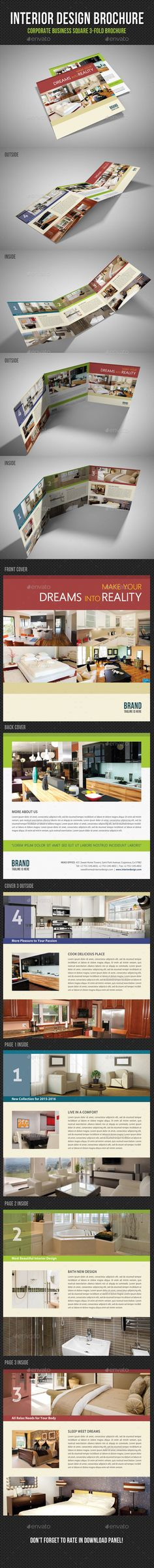 Interior Design Square 3-Fold Brochure V05 Brochures, Brochure - interior design brochure template