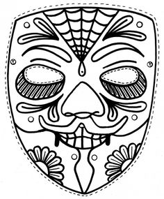 Mask Coloring Pages 5 Vectories 243395 Day Of The Dead Printable