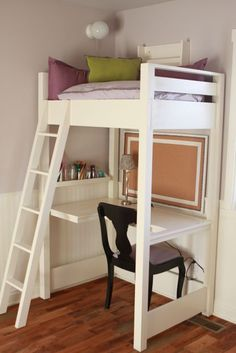 DIY: Kid-Sized Reading Loft & Desk - great post shows an Ana White loft bed was modified to fit a small space. (This would be perfect for Coco--reading space and craft area). Bedroom Desk, Small Room Bedroom, Trendy Bedroom, Small Rooms, Girls Bedroom, Small Spaces, Diy Bedroom, Kids Rooms, Bedroom Loft