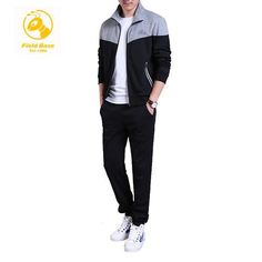 47a7ac4ffd0 QiyuanLS Men s Brand Tracksuits Sets Jacket+Pants Sporting Suit Fitness  Clothing For Young 2 Couples