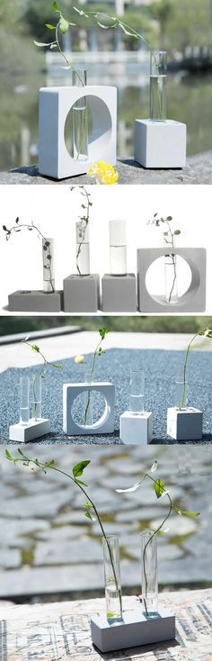Concrete Base Stand Test Tube Planter Flower Vase