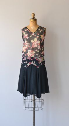 Vintage 1920s Black and Floral Print Silk Dress