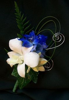 Prom Flowers - Boutonniere - Blue Delphinium with white Orchid accented with foliages and decorative wire.