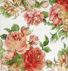 4 x Single Luxury Paper Napkins for Decoupage and Craft Vintage Rose Garden #Decoupage