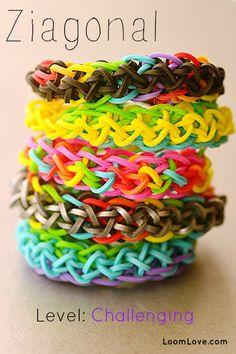 How to Make a Ziagonal Bracelet - Rainbow Loom video tutorial