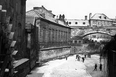 Kluci na bruslích (1414-2) • Praha, prosinec 1961 • | černobílá fotografie, Čertovka, Kampa, mlýnské kolo, mráz |•|black and white photograph, Prague|