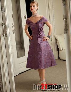 f4b74f0e4804 Fantastic Bowknot A-Line Off-the-Shoulder Tea-Length Mother of the Bride  Dresses Mother of the Bride Dresses Wedding Party Dresses Buy High Quality  Dresses ...