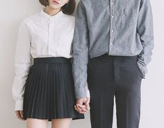 Neutral button-ups, matching skirt and pants
