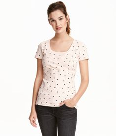 Check this out! CONSCIOUS. Short-sleeved nursing tops in organic cotton jersey with wrapover front and practical inner top for easier nursing. - Visit hm.com to see more.