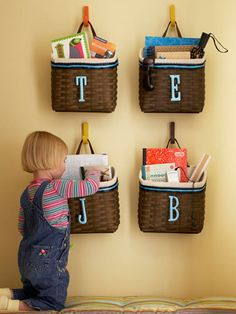 Great idea for the hallway-- Just as kids leave they can grab whats in their basket-- Or put it by the stairs to have them take stuff up stairs.. Oh my so many things you can do with these..