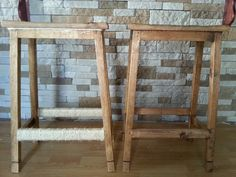 My bar stools before and after. Wrapped with rope to give some character.