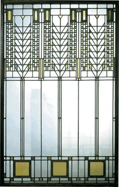 "Frank Lloyd Wright ""Tree of Life"" window. I'd love to have a reproduction of this, the greens and golds and symmetry are so timeless!"