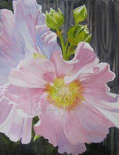 """Pink Hollyhocks Watercolor 11""""X15"""" by Nathalie Kelley"""