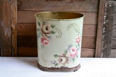 Beautiful Antique Hand Painted Rusted Waste Bin  by LoveliesShop, $23.50