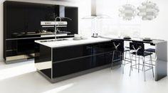 Kitchen - Fantastic Modern Kitchen With Glossy Black Kitchen Island Innovative Pendant Lights Glossy Black Kitchen Cabinet Cool Barstools: Modern Contemporary Kitchen Design Ideas with Dining Feature