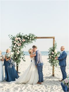 First kiss as bride and groom under stunning wood, greenery and rose floral installation wedding altar at New England beach wedding ceremony. Beach Wedding Groom, Blue Beach Wedding, Beach Wedding Reception, Beach Ceremony, Wedding Couples, Summer Wedding, Wedding Ceremony, Beach Wedding Ceremonies, Beach Wedding Arches