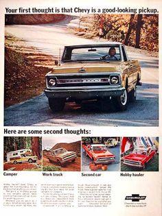 1969 Chevrolet Fleetside Pickup Truck original vintage advertisement. Photographed in vivid color.