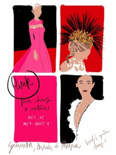 Punk: From Chaos to Couture. Guineth Paltrow, Sarah Jessica Parker - MET benefit gala, 6th May 2013.  #fashion #illustration Open Toe - opentoeillustration.com