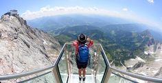 Offering vertiginous views of the Alps, the newly opened Hängebrücke am Dachstein is the highest suspension bridge in Austria. Dachstein Austria, Sky Walk, Cycling Holiday, Suspension Bridge, Adventure Is Out There, Willis Tower, Stairways, Places To See, Travel Destinations