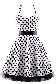 Go for the classics in our Atomic Black and White Polka Dot Halter Swing Dress.  https://atomicjaneclothing.com/products/atomic-black-and-white-polka-dot-halter-swing-dress
